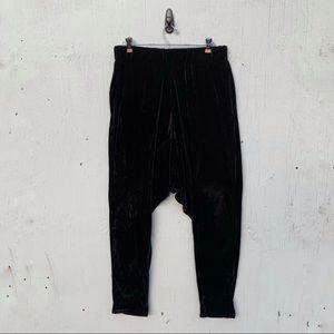Eight to Four Black Velour Drop Crotch Harem Pants
